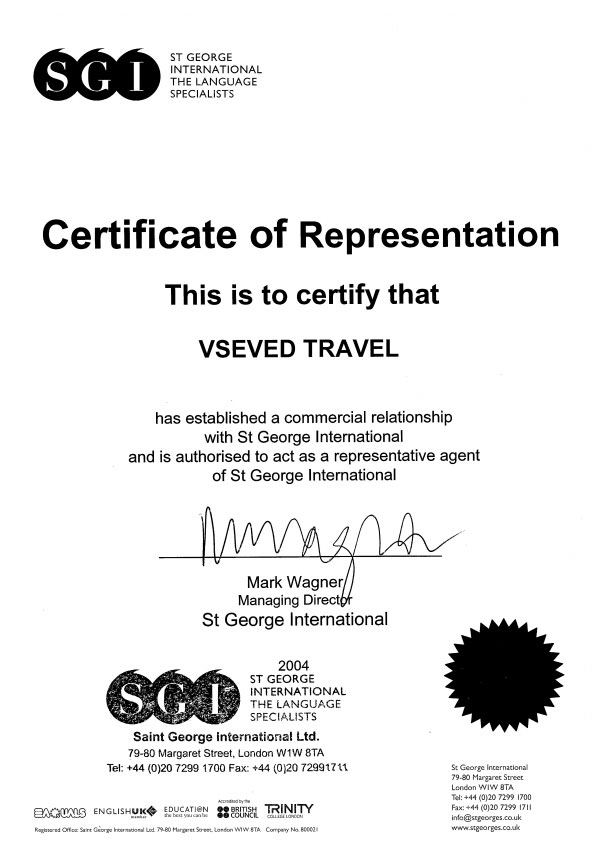 Certificate of Representation SGI