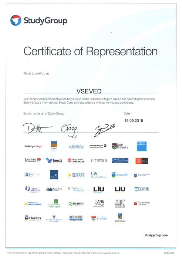 Certificate of Representation StudyGroup